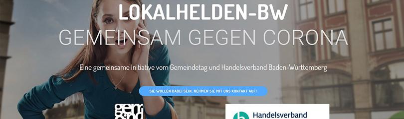 Frau mit Einkaufstaschen - Titelbild der Webseite www.lokalhelden-bw.de