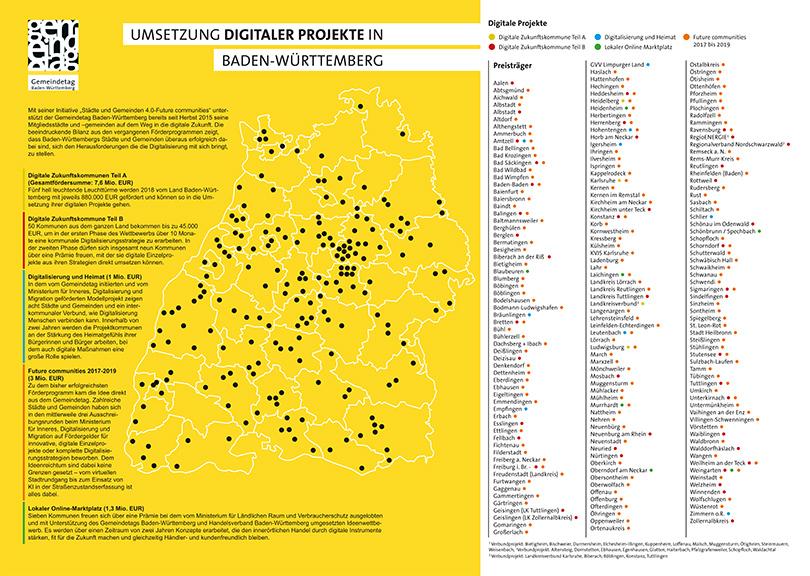 Infografik mit Karte zur Umsetzung digitaler Projekte in Baden-Württemberg