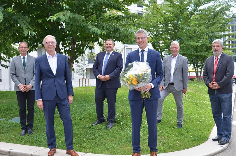 Präsident und Hauptgeschäftsführer Roger Kehle mit seinem Nachfolger Steffen Jäger sowie dem Ersten Vizepräsidenten OB Klaus Holaschke und den Vizepräsidenten BM Michael Kesser, BM Bernd Mangold und BM Michael Scharf.