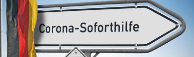 """Schild mit dem Aufdruck """"Corona-Soforthilfe"""""""