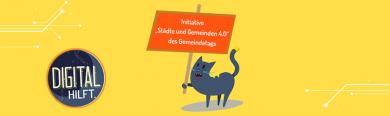 """Gelbes Plakat mit Katze und Logo mit dem Text """"Digital hilft"""""""